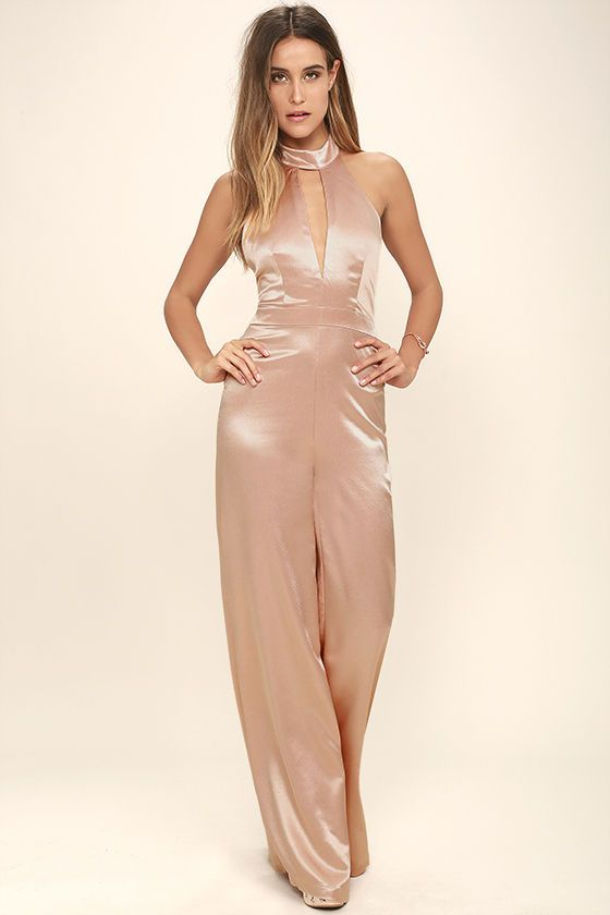 08e87380c209 Prepare for nonstop compliments when you don the Plan for Party Champagne  Satin Halter Jumpsuit! Lightweight satin fabric boasts the perfect sheen  over a ...
