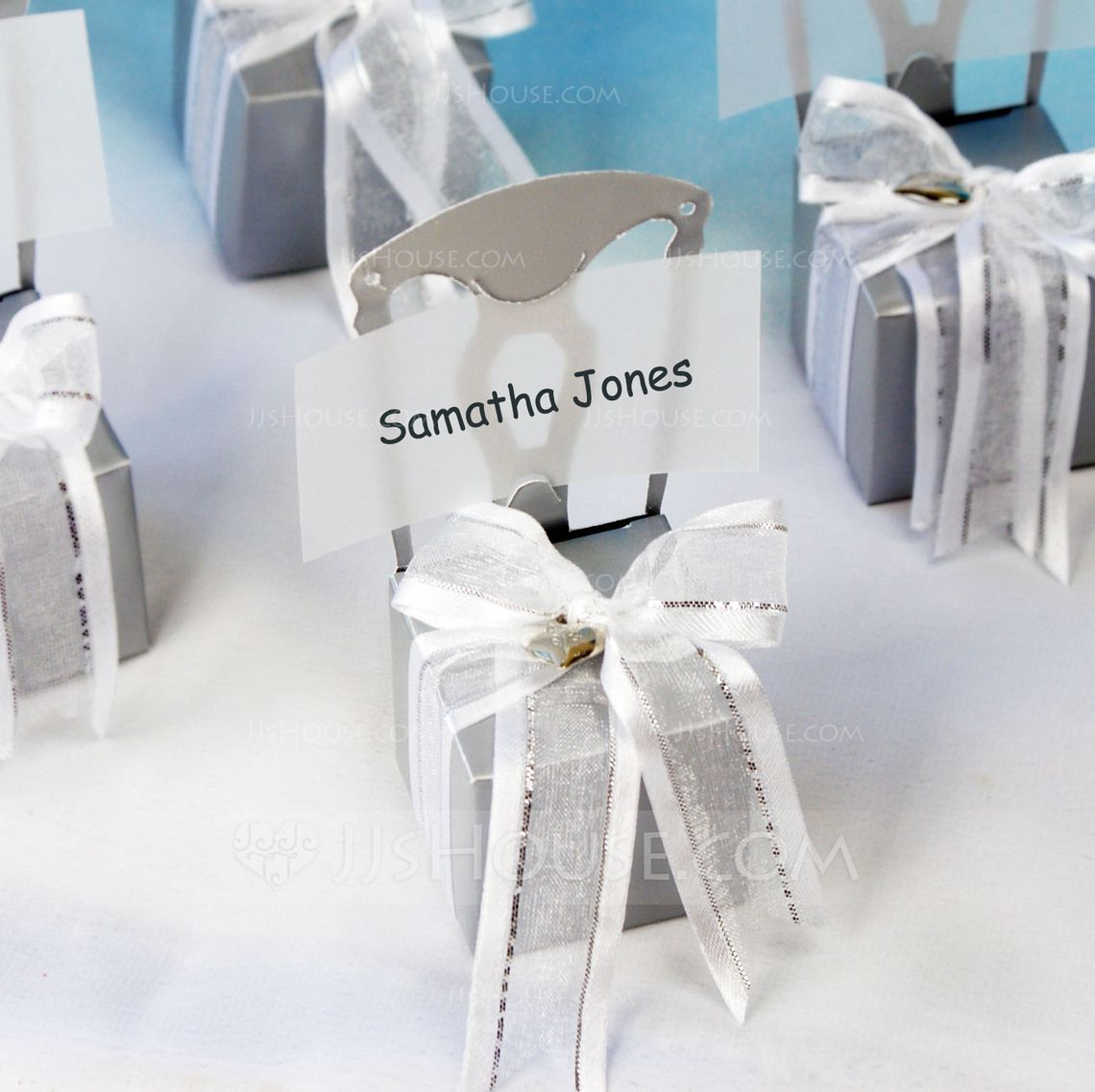 Wedding Bridal Shower Birthday Party Garden Theme Classic Theme Spring Winter Summer Fall Favor Boxes Cubic Card Paper Silver Ribbons OPP (Set of 12) Fill them with chocolates Jordan almonds Cinnamon hearts or whatever your heart desires Ship flat and eas