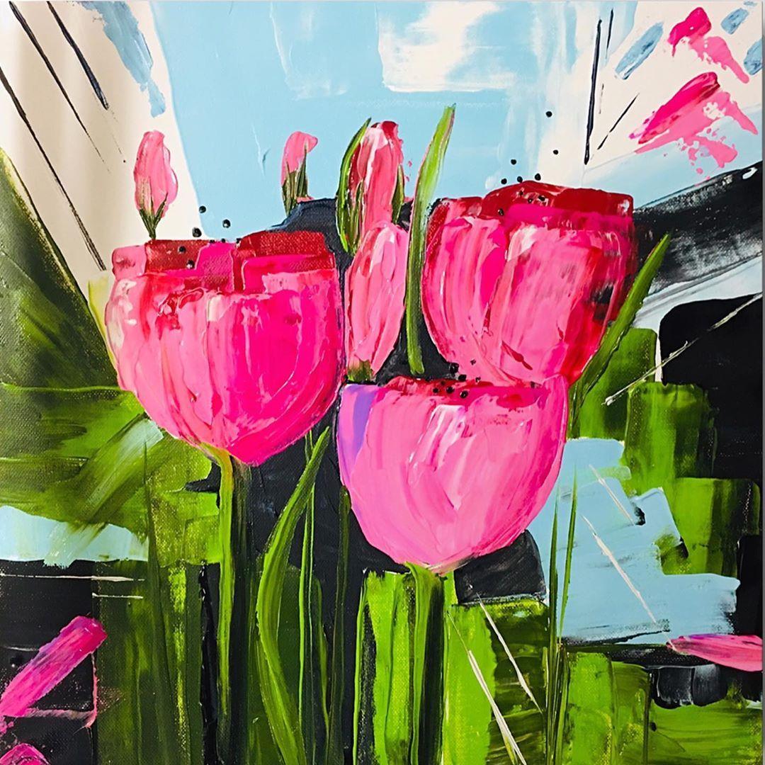 Tulpen Abstrakt Pflanzen Modern Bunt Acryl Malerei