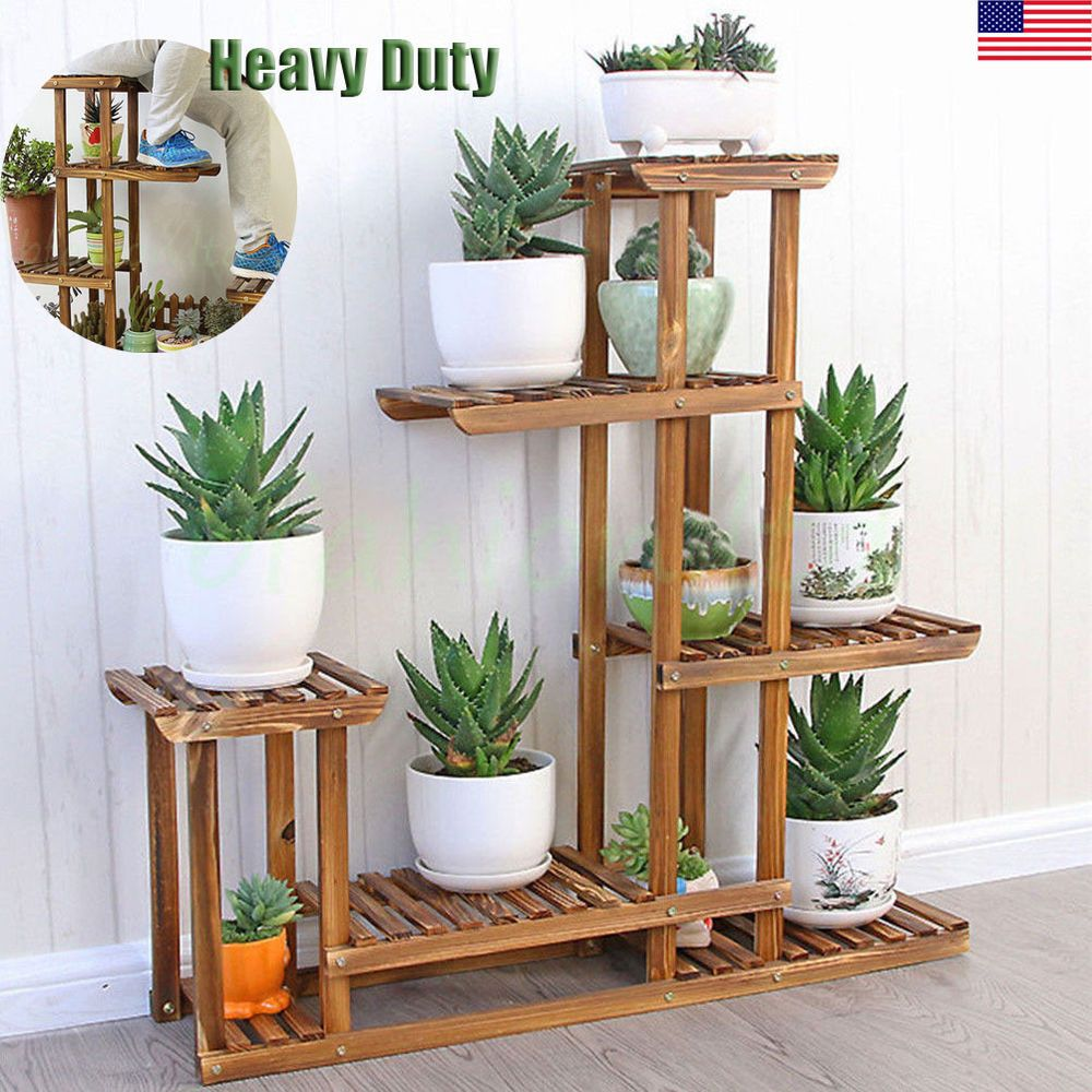 Wooden plant flower stand shelves garden planter 5 tier pot display rack holder unho