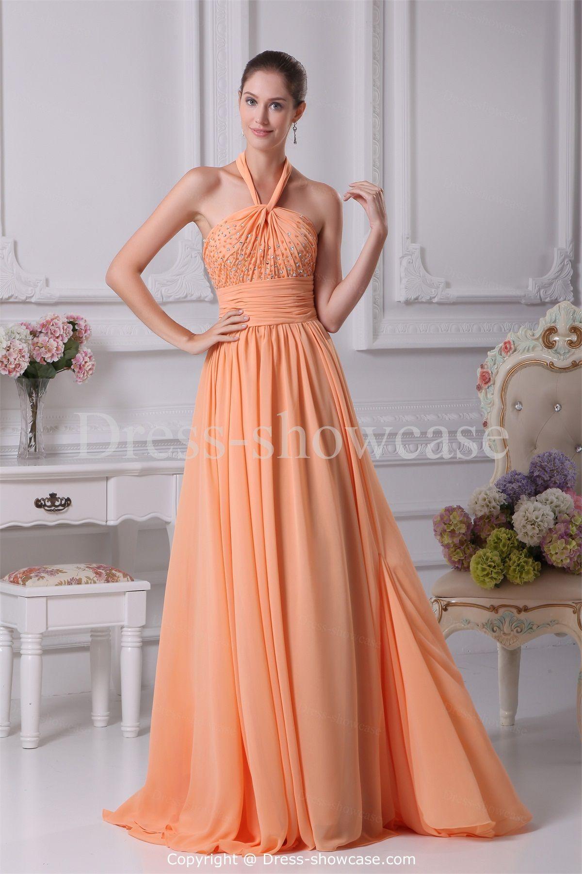 Pink And Orange Bridesmaid Dresses Light Sweep Train Chiffon Dress