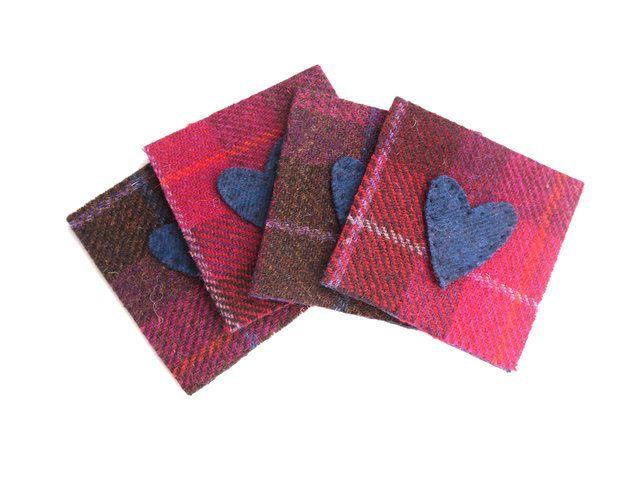 Red Harris Tweed wool coasters with hearts £12.50