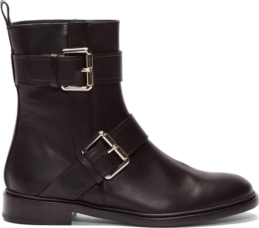 Proenza Schouler Black Leather Double Buckle Moto Boots