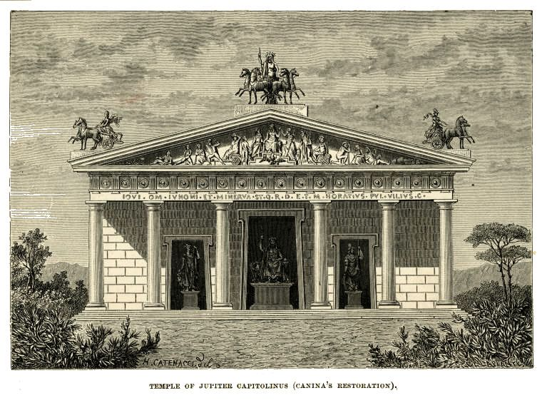 LOUIS TARAVAL FRENCH ARCHITECTURE TEMPLE DRAWING ART REAL CANVAS GICLEEPRINT