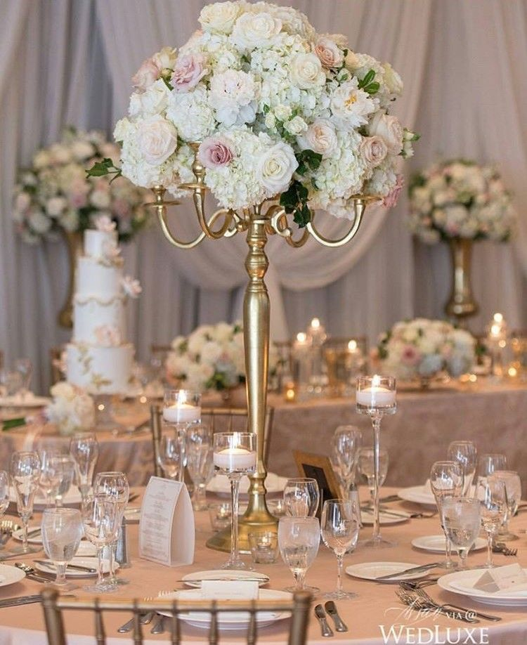 rose and hydrangea blush and ivory wedding centerpiece topiary rh pinterest com candelabra wedding centerpieces images candelabra wedding centerpieces images