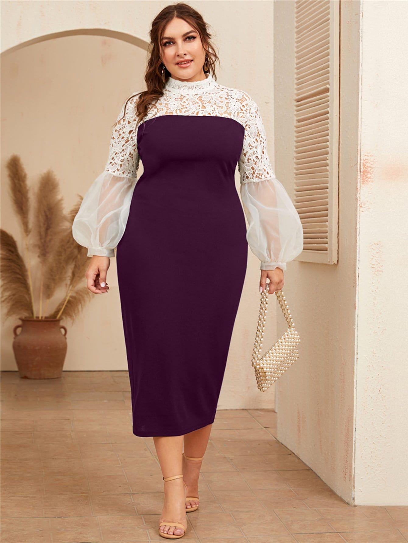 Plus contrast lace detail lantern sleeve split hem dress