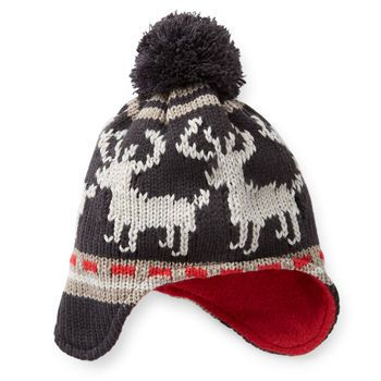 818f6c3e14d Knitted Reindeer Trapper Hat