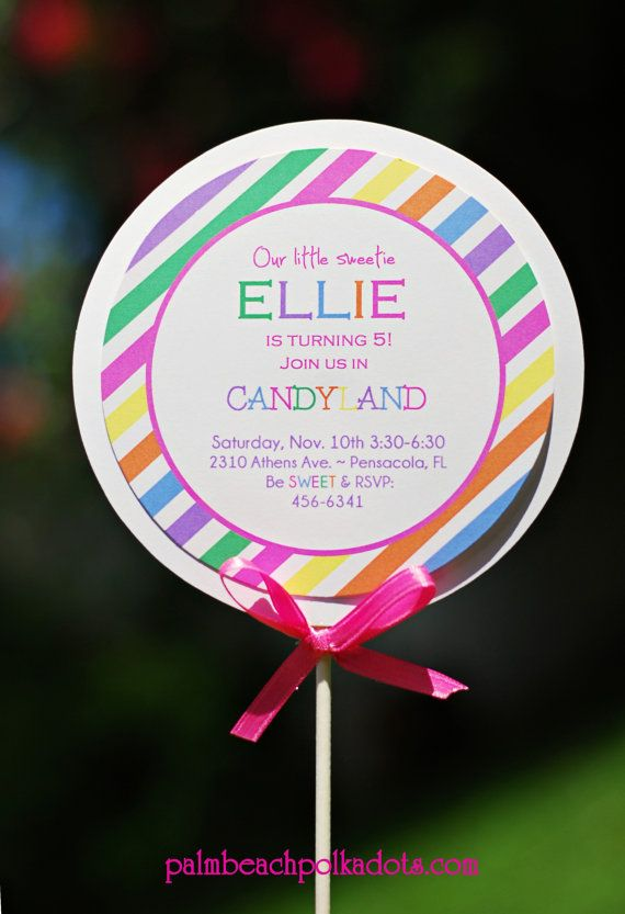DIY  - Candyland Lollipop Birthday Invitations by palmbeachpolkadots, $2.50