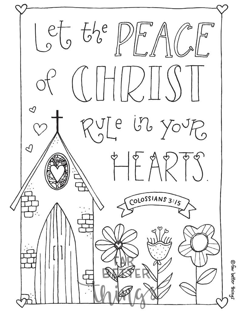 Bible Verse Coloring Page Colossians 3 15 Printable Bible Etsy Bible Verse Coloring Page Bible Verse Coloring Bible Coloring Pages