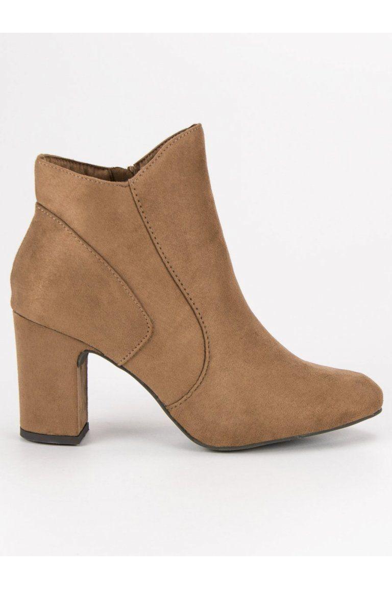 Elegantné topánky béžové členkové čižmy so semišu Kylie K1809810TA ... f75c0980ac9