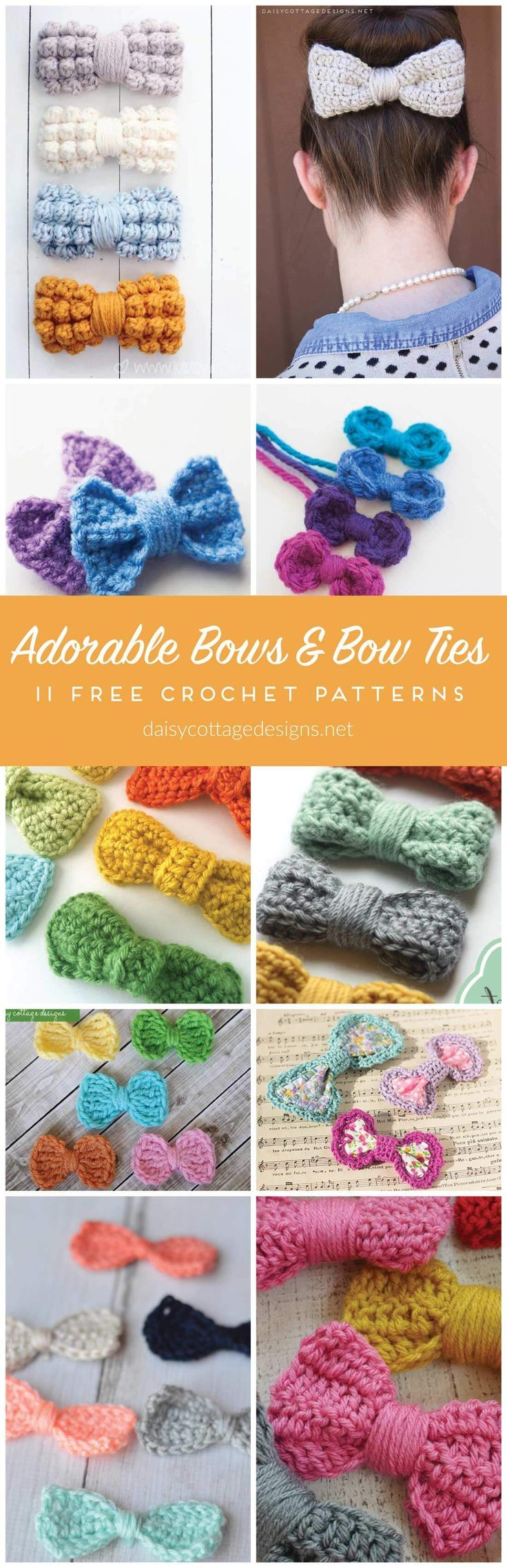 Crochet Bow and Bow Tie Pattern Collection from