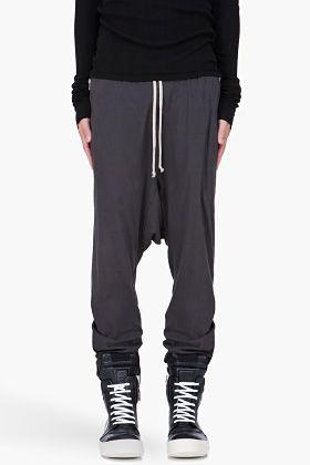 Rick Owens DRKSHDW Grey Drop Crotch Lounge Pants for Men | SSENSE