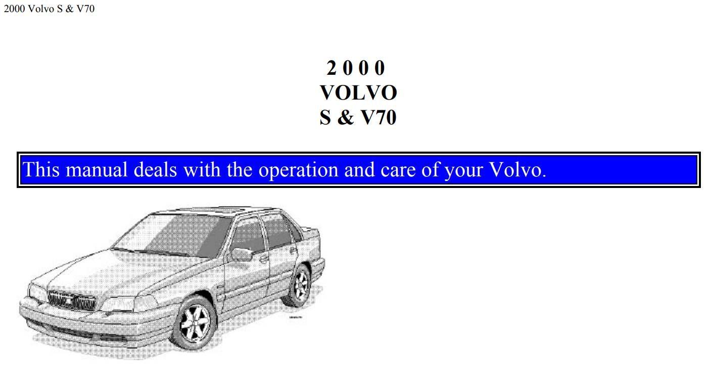 Volvo V70 S70 2000 Owner S Manual Pdf Online Download Volvo V70 Volvo Owners Manuals