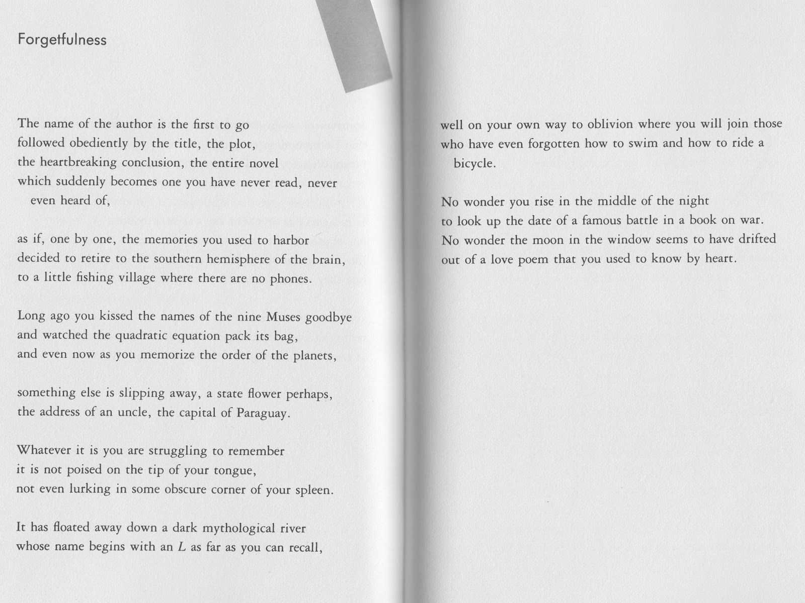 forgetfulness poem