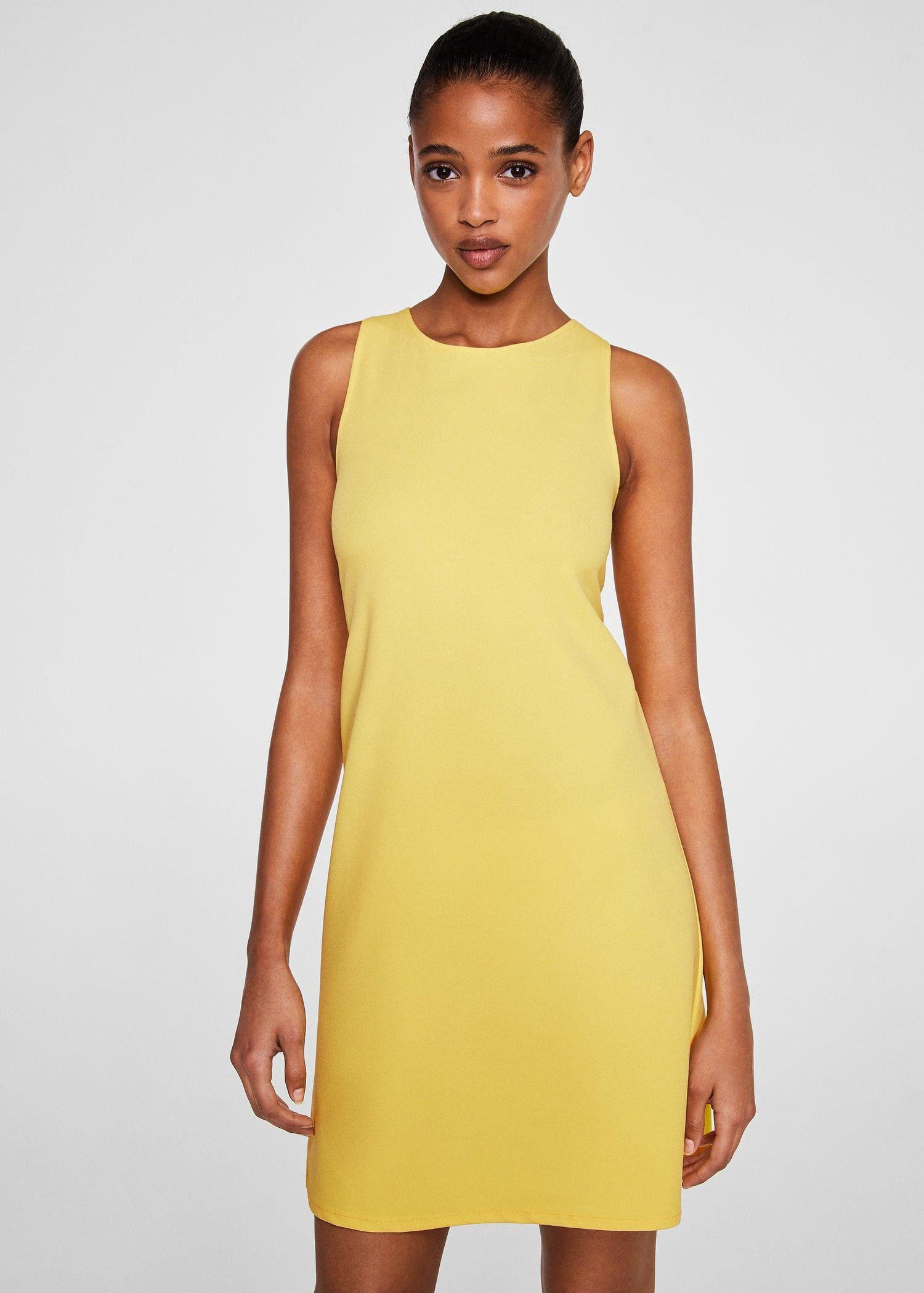 Yellow dress for women  Mango Back Vent Dress  Women  Yellow   Products  Pinterest