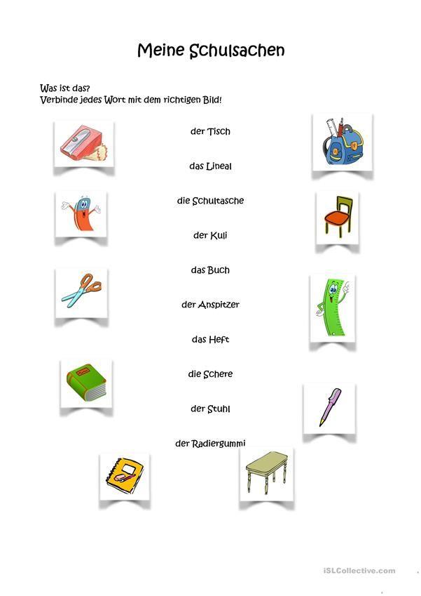 Meine Schulsachen | Meine Schulsachen, in der Schultasche - DaF ...