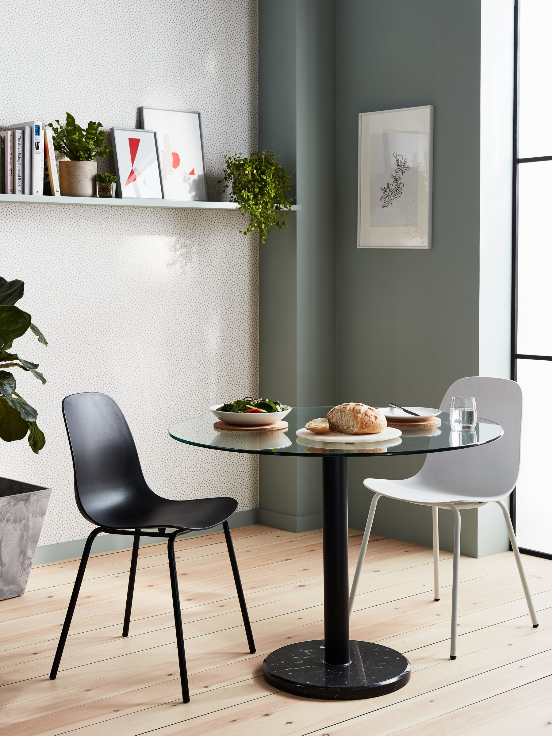 housejohn lewis enzo 2 seater glass round dining table