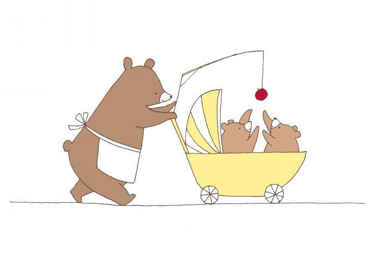 イラスト くまさん親子 ポストカード シャンティーのイラストレーション通信rararashanty くまイラスト クマ イラスト イラスト