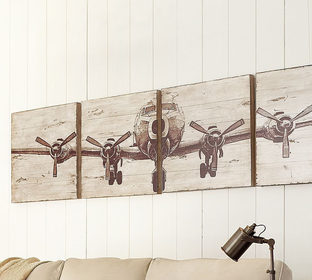 Planked Fir Airplane Panels Set Of 4 Airplane Wall Art