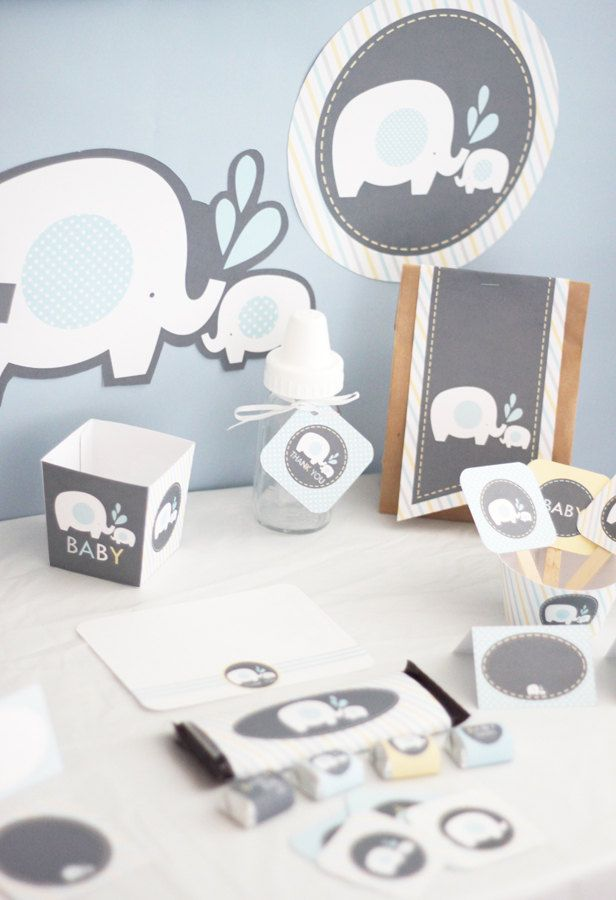 Elephant Boy Baby Shower Printable DIY Party Package - Instant Download. $12.00, via Etsy.