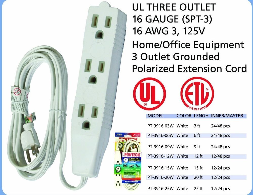 Extension Cord 3 Outlet 3 Prong Grounded Ul Listed 16 Gauge Spt 3 125v Ebay Extension Cord Outlet Cord