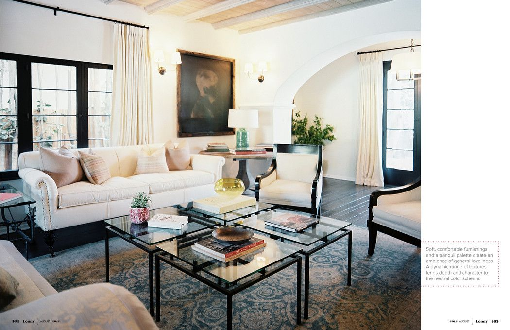 If you're living room is too large for a standard coffee table, try clustering smaller tables together!    Image via Lonny August 2012 | Lonnymag.com