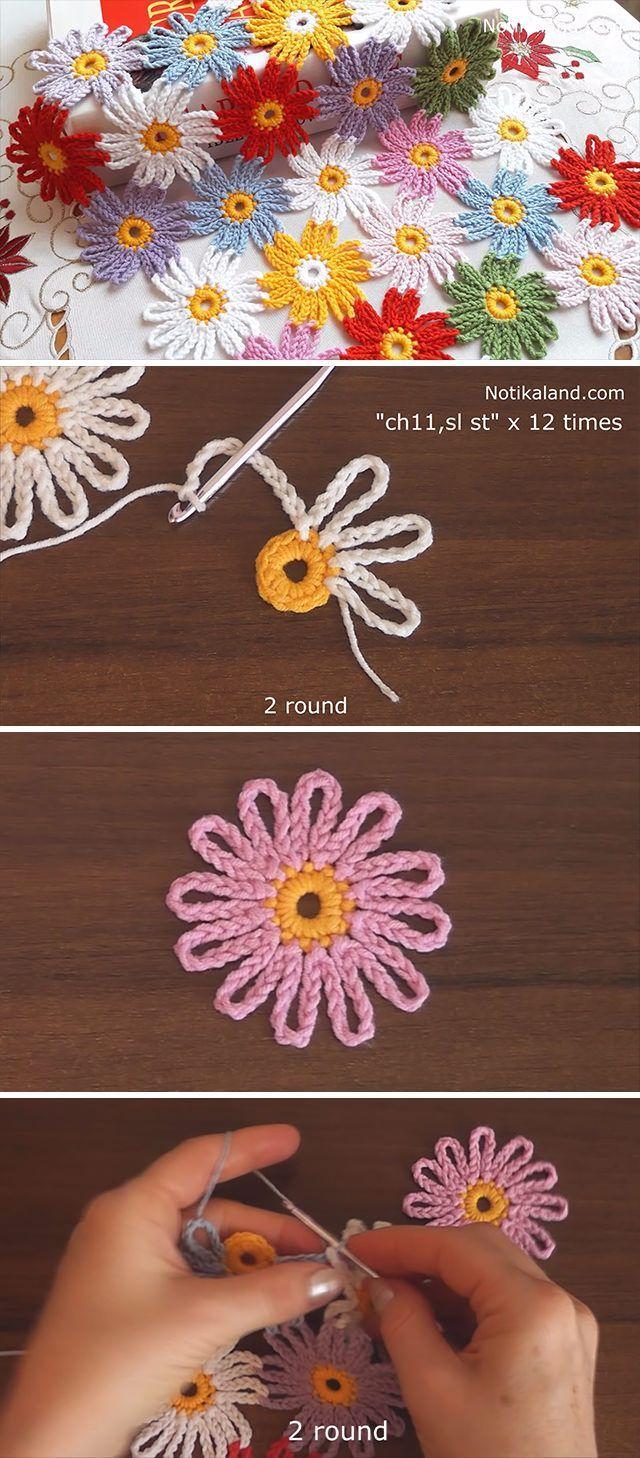 Schönes Häkelblumenmuster, das Sie lernen müssen #crochetedflowers