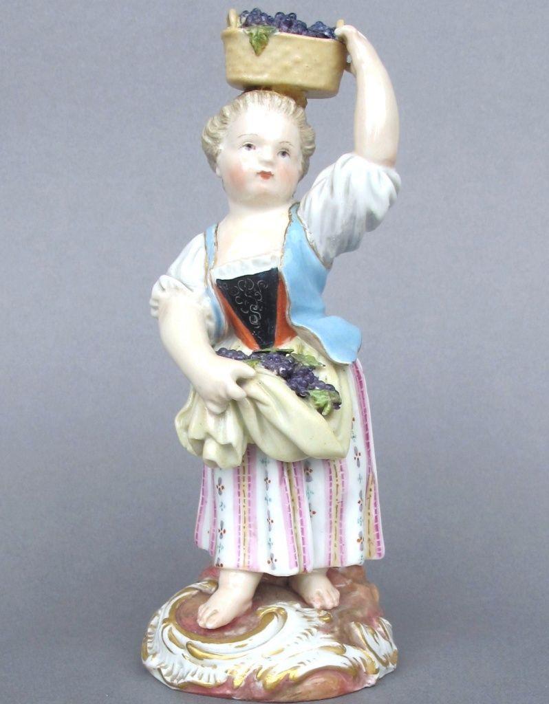 pic of line       Meissen Model: F 21        Description: Girl With Grape Basket On Head   Modeled By: Michel Victor Acier ca. 1785   Mark: F 21       Painter Number: 75 - Hetzschel    Height: 5.5 in - 14 cm