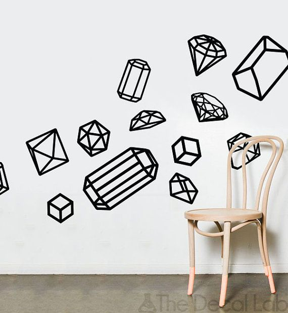 isometric wall decals geometric shapes wall design customize nursery and interior walls wal geo7 - Simple Shapes Wall Design