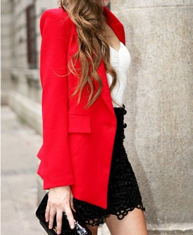 Red blazer paired with white tee and black lace skirt