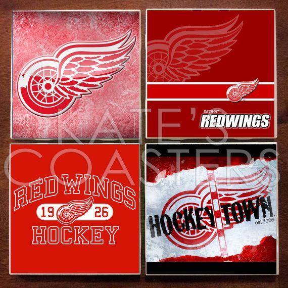 Set Of 4 Detroit Red Wings Hockey Ceramic Tile Coasters On Etsy 10 00 Red Wings Hockey Detroit Red Wings Hockey Detroit Red Wings