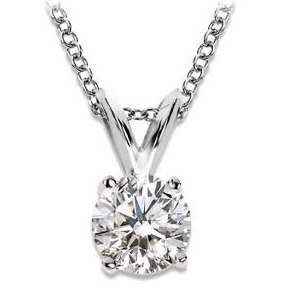 1.25 Carat Natural Black Diamond 6 Prong 14K White Gold Solitaire Necklace Chain