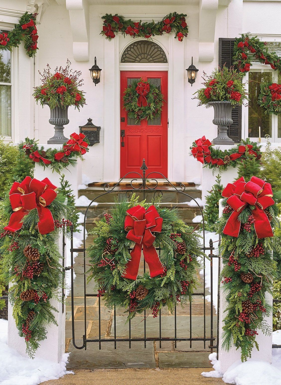 Naples Christmas Cheer 2020 Christmas Cheer Wreath with Red Bow | Frontgate in 2020 | Front