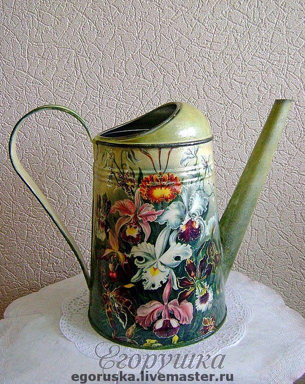 """Купить Лейка """"Прекрасные орхидеи"""" - лейка, оригинальный подарок, подарок садоводу, для цветов, Декупаж"""