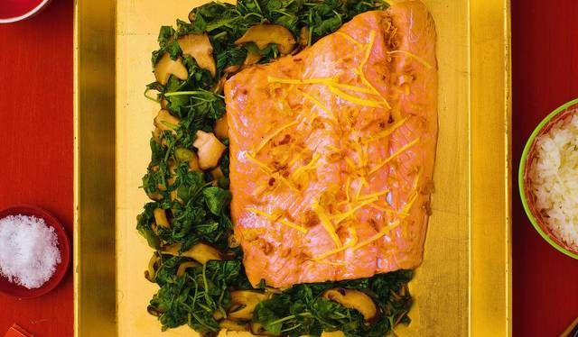 Salmon with Pea Shoots and Oyster Sauce | Recipe | Oyster ...