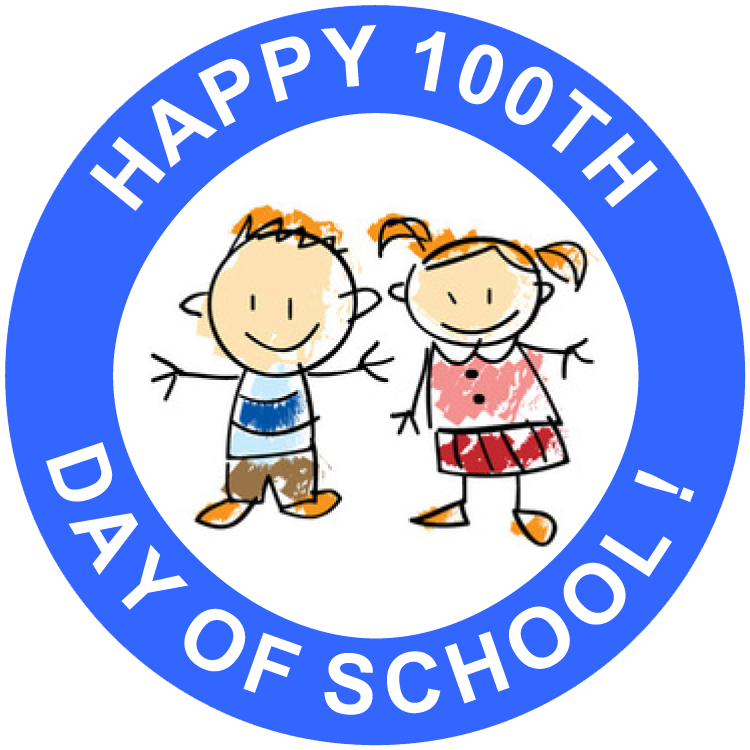 Happy 100th Day of School Free Printable Stickers (set of