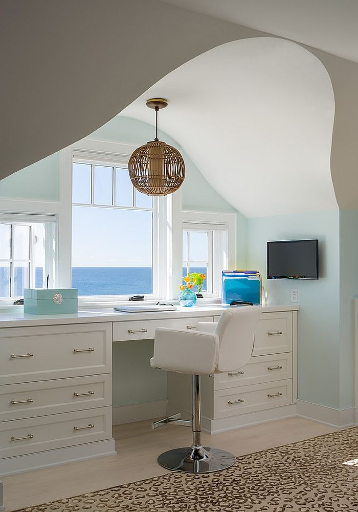 10 Cheerful Home Offices With Beautiful Beach Style Home Office Decor Home Home Office Design
