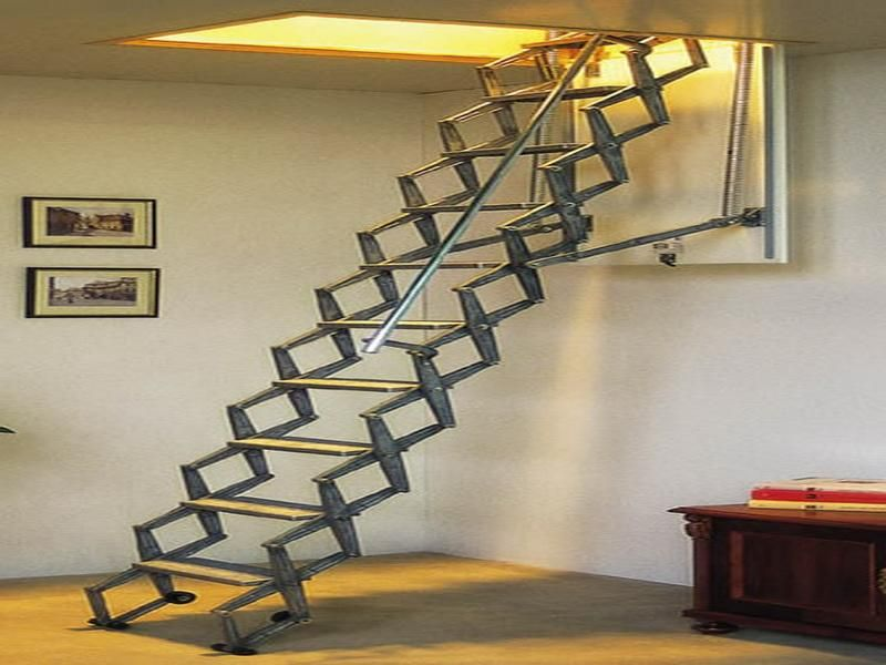 Folding Attic Stairs Bonasty Attic Remodel Attic Stairs   Folding Loft Stairs With Handrail   Circle Stair   Design   Limited Space   Stairway Osha   Semi Automatic