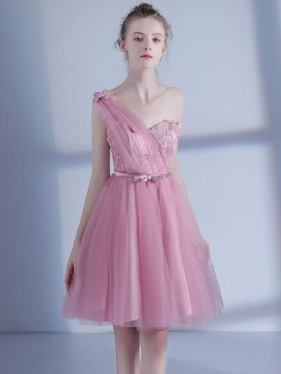 f53970ee95 One-Shoulder Pink Flowers Pleats Homecoming Dress ...