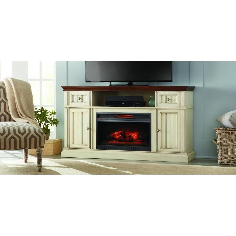 montauk shore 60 in tv stand electric fireplace in antique white