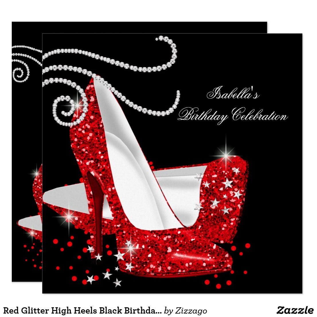 c5c5f2cb532a Red Glitter High Heels Black Birthday Party Card Any Age. Luxury Red  Glitter High Heels Shoes Stiletto