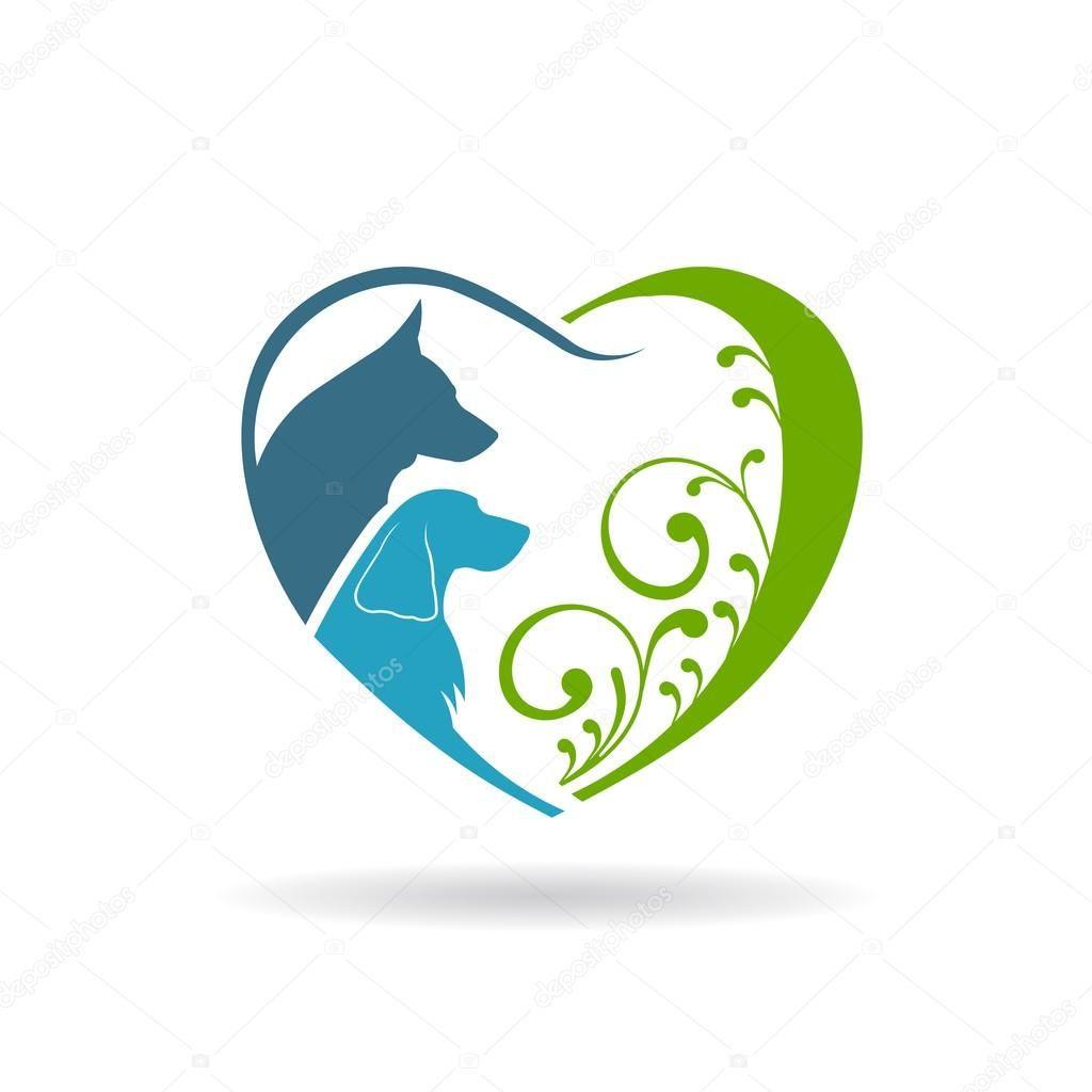 Dog Care And Love Heart Logo Dog Logo Design Animal Logo Heart Logo