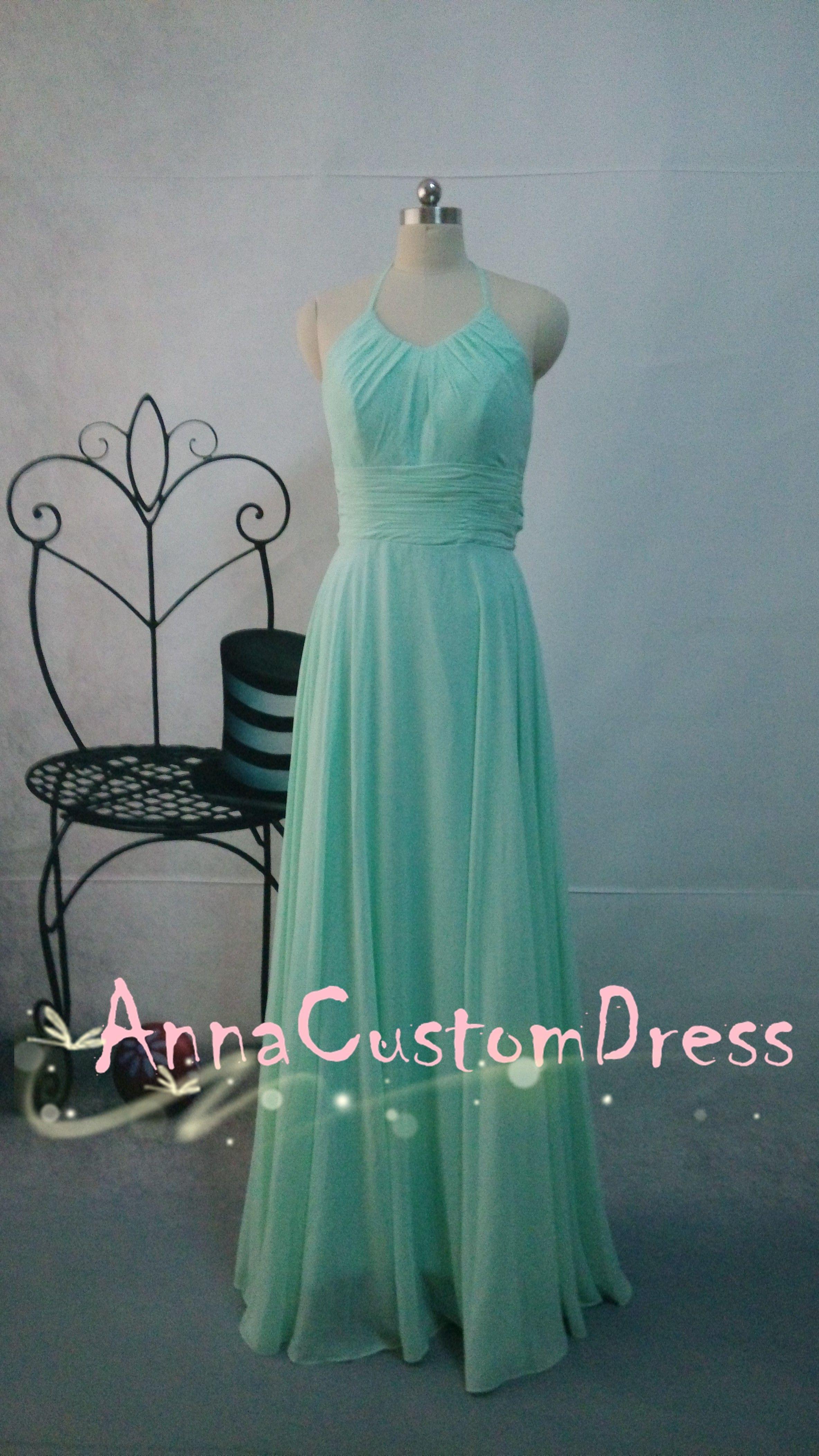 Halter long mint chiffon bridesmaid dress mint bridesmaid dress