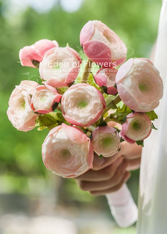 Real Touch Ranunculus Bridal Bouquet Artificial Pink Ranunculus ...