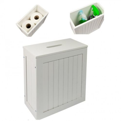 bathroom storage cabinet unit toilet paper roll holder wood floor standing white