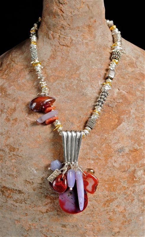 """Heart"", Sterling Silver, Laguna Agate, Herkimer Diamond, Ametrine, 24K Gold Vermeil by Allison Bellows"