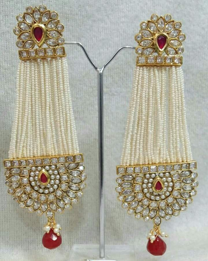 ee5be5779 ... Buy Fashion Jewellery Online at Best Price by Gliters Official. red  stone kundan pearl Jhumar Earrings Gliters By Shweta