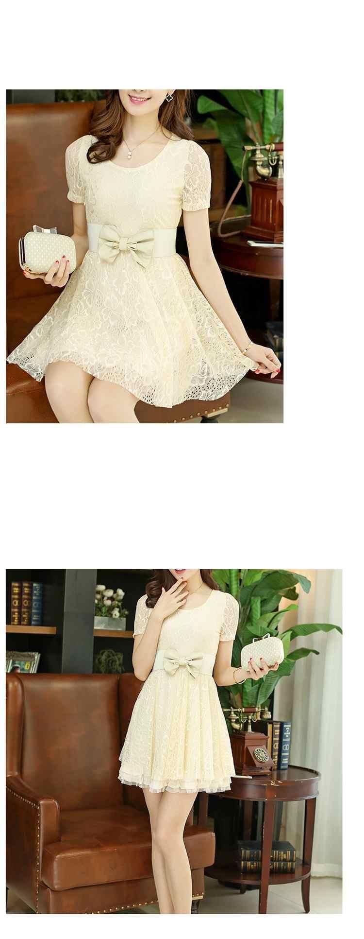 Short-Sleeve Belted Lace Dress - Ringnor | YESSTYLE
