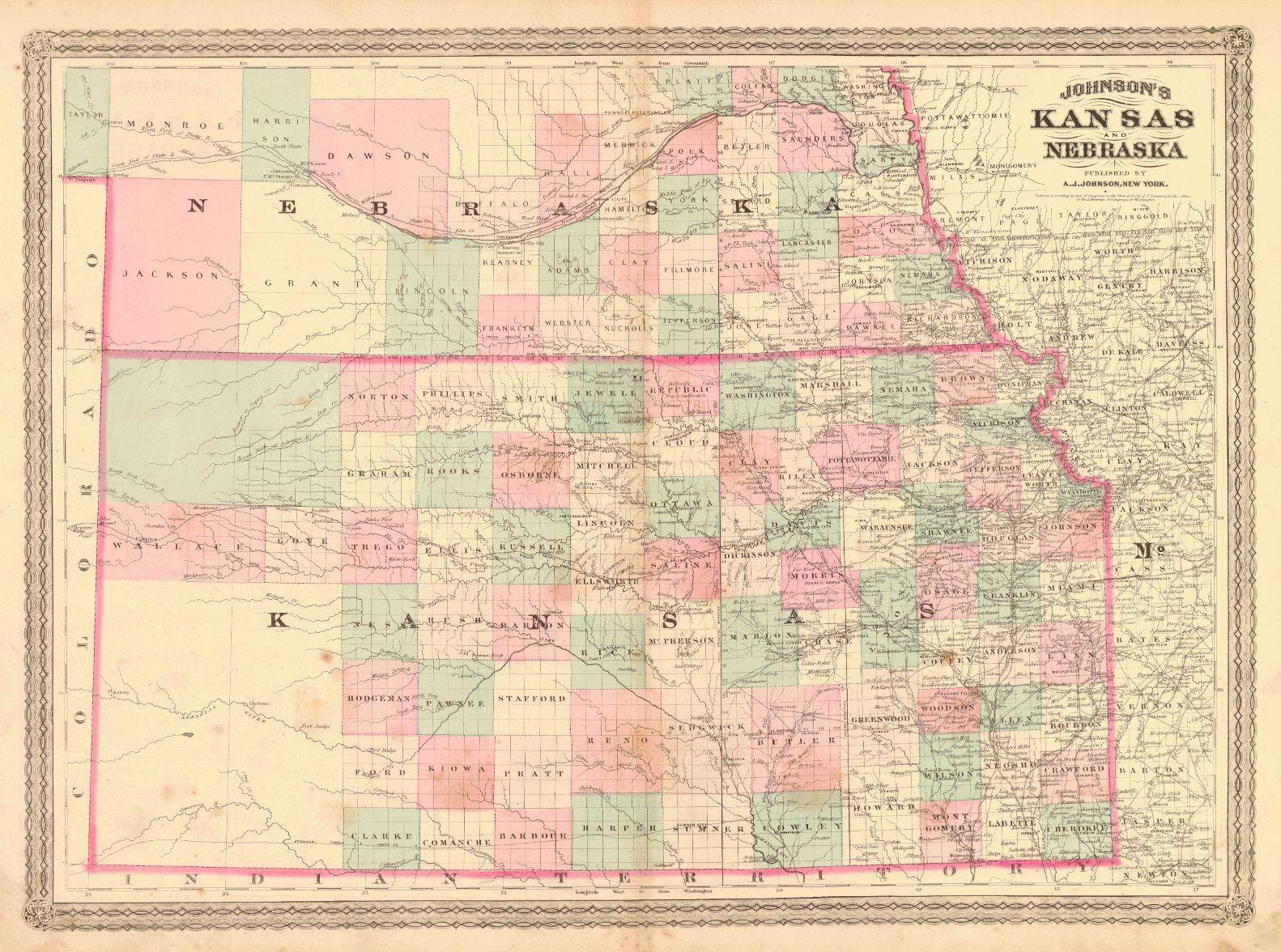 map of s in kansas Map Antique Johnson S Kansas And Nebraska Nebraska Kansas Kansas Map map of s in kansas