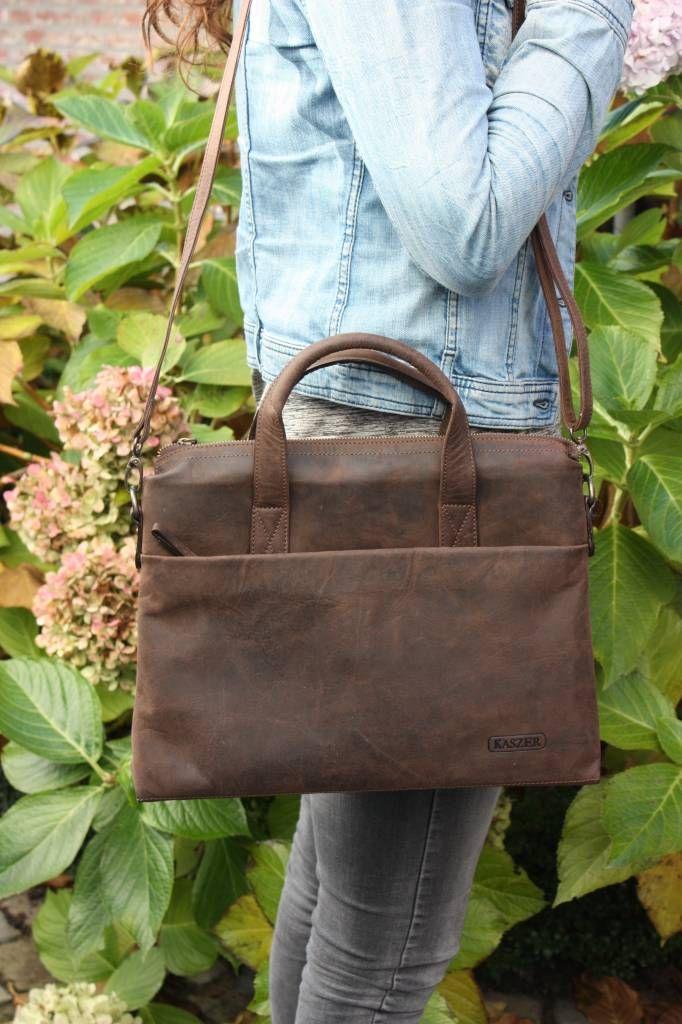 1c6b733736e Prachtige buffel lederen tas van Kaszer, geschikt als handtas, schoudertas,  laptoptas of officetas